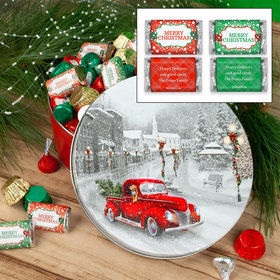 Personalized Snowy Drive Merry Christmas Hershey's Mix Tin - 2 lb