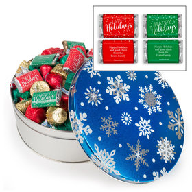 Personalized Blue Flurries Happy Holidays Hershey's Mix Tin - 3 lb
