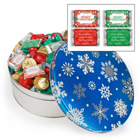 Personalized Blue Flurries Merry Christmas Hershey's Mix Tin - 3 lb