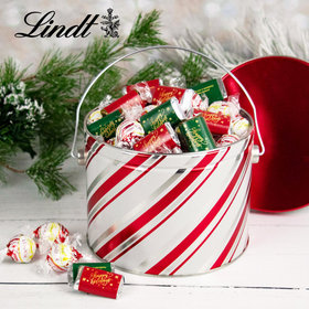 Candy Stripes Hershey's Happy Holidays Miniatures & Peppermint Lindt Truffles Tin - 2.9 lb