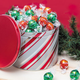 Candy Stripes Lindor Truffles by Lindt (Approx 90pcs) - 3 lb Tin
