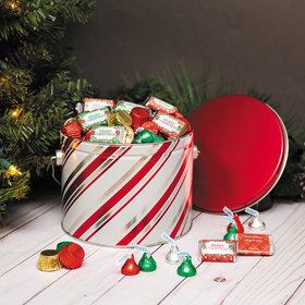 Personalized Candy Stripe Merry Christmas Hershey's Mix Tin - 3.5 lb