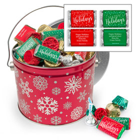 Personalized Red Snowflake Happy Holidays Hershey's Mix Tin - 3.5 lb