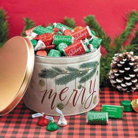 Personalized Very Merry Happy Holidays Hershey's Mix Tin - 3.5 lb