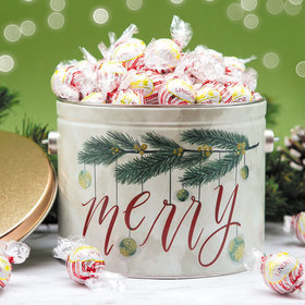 Very Merry White Chocolate Peppermint Lindor Truffles by Lindt (Approx 90pcs) - 3 lb Tin