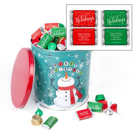 Personalized Cheery Snowman Happy Holidays Hershey's Mix Tin - 5 lb