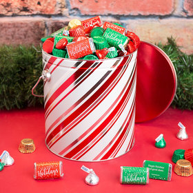 Personalized Candy Stripes Happy Holidays Hershey's Mix Tin - 5 lb