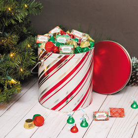 Personalized Candy Stripes Merry Christmas Hershey's Mix Tin - 5 lb