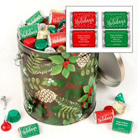 Personalized Golden Pinecones Happy Holidays Hershey's Mix Tin - 5 lb