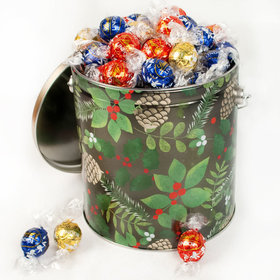 Golden Pinecones Holiday Tin Assorted Lindt Truffles - 3.5 lb