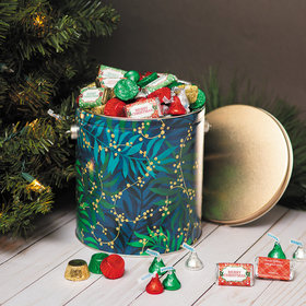 Personalized Touch of Gold Merry Christmas Hershey's Mix Tin - 5 lb