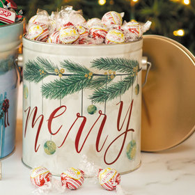 Very Merry Holiday Tin Peppermint Lindt Truffles - 3.5 lb