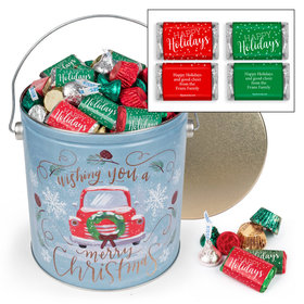Personalized Vintage Christmas Happy Holidays Hershey's Mix Tin - 5 lb