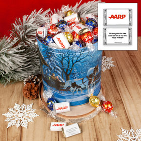 Winter Wonderland Christmas Add Your Logo 4.6lb Tin Personalized Hershey's Miniatures & Lindt Truffles