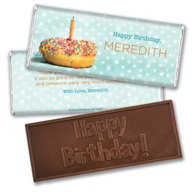 Personalized Birthday Donut Worry Be Happy Embossed Chocolate Bar