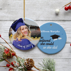 Personalized Graduation Photo Christmas Ornament