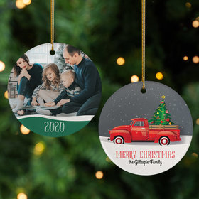 Personalized Red Truck Family Photo Christmas Ornament