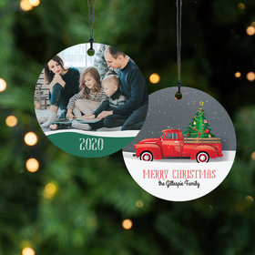 Personalized Red Pickup Truck Christmas Ornament