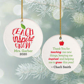 Personalized Teach Grow Inspire Christmas Ornament