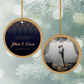 Personalized 'Our First Christmas' Wedding Photo Christmas Ornament