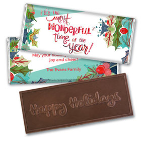 Personalized Christmas Wonderful Time Embossed Chocolate Bar