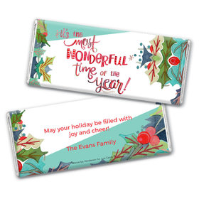 Personalized Christmas Wonderful Time Chocolate Bar Wrappers Only
