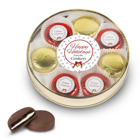 Personalized Chocolate Covered Oreo Cookies Happy Holidays Gold Large Plastic Tin