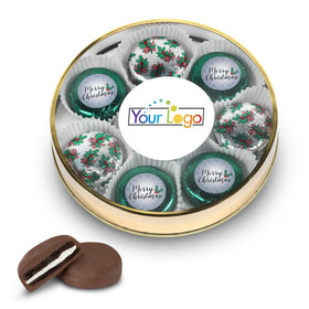 Personalized Chocolate Covered Oreo Cookies Add Your Logo' Merry Christmas Gold Large Plastic Tin