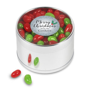 Merry Christmas Personalized Jelly Bean Plastic Tin
