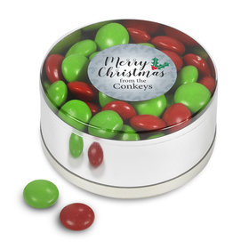 Merry Christmas Personalized Chocolate Minis Small Plastic Tin