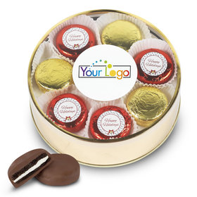 Personalized Chocolate Covered Oreo Cookies Add Your Logo' Happy Holidays Gold Extra-Large Plastic Tin