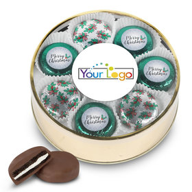 Personalized Chocolate Covered Oreo Cookies Add Your Logo' Merry Christmas Gold Extra-Large Plastic Tin