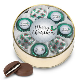 Merry Christmas Chocolate Covered Oreo Cookies Gold Extra-Large Plastic Tin