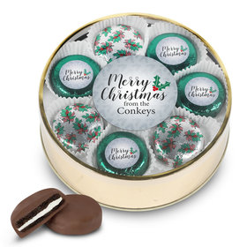 Personalized Chocolate Covered Oreo Cookies Merry Christmas Gold Extra-Large Plastic Tin