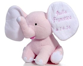 Personalized Plush Baby Elephant (Pink) Christmas Ornament