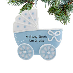 Personalized Blue Baby Carriage Christmas Ornament