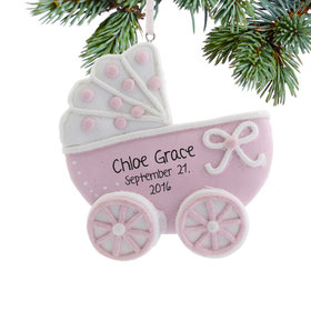 Personalized Pink Baby Carriage Christmas Ornament