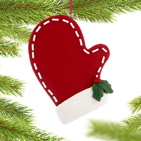 Red Stitched Mitten Christmas Ornament