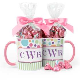 Personalized Baby Shower Stripes & Polka Dots 11oz Mug with Hershey's Kisses