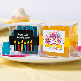 Personalized Birthday JUST CANDY® favor cube with Gummy Bears