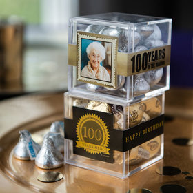 Personalized Milestone 100th Birthday JUST CANDY® favor cube with Hershey's Kisses