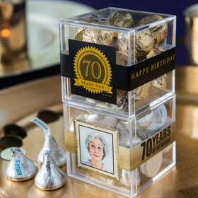 Personalized Milestone 70th Birthday JUST CANDY® favor cube with Hershey's Kisses