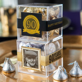 Personalized Milestone 90th Birthday JUST CANDY® favor cube with Hershey's Kisses