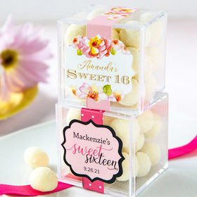 Personalized Sweet 16 Birthday JUST CANDY® favor cube with Premium Sugar Cookie Bites