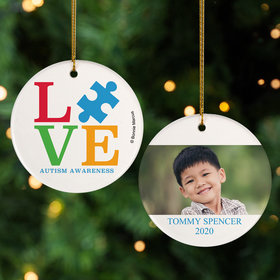 Personalized Autism Awareness Love Christmas Ornament