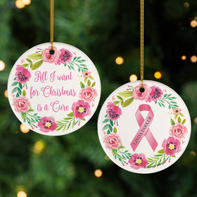 Personalized All I want for Christmas is a Cure Christmas Ornament