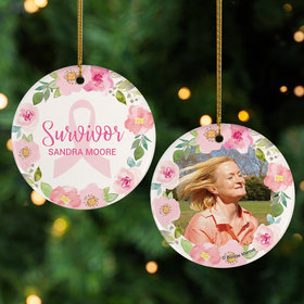 Personalized Breast Cancer Survivor Flower Wreath Christmas Ornament