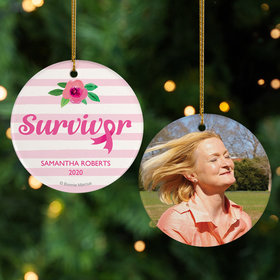 Personalized Breast Cancer Survivor Pink Stripes Christmas Ornament