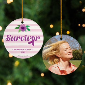 Personalized Breast Cancer Survivor Purple Stripes Christmas Ornament