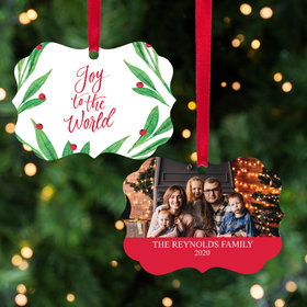 Personalized Joy to the World Family Photo Christmas Ornament